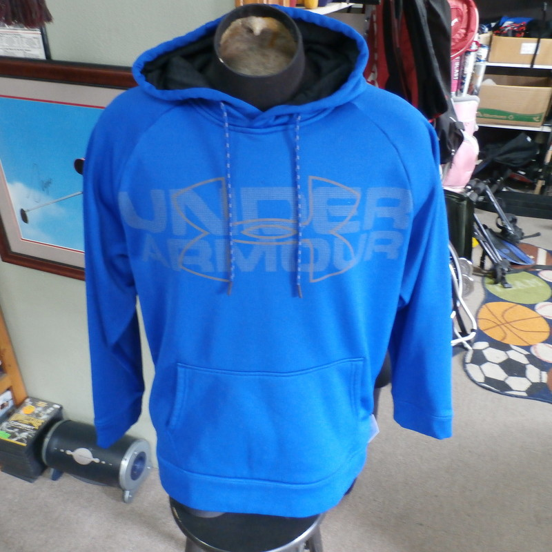 "Title: Under Armour Men's Hoodie Blue Size Large #24190<br /> Our Clothes Rating: 3- Good Condition<br /> Brand: Under Armour<br /> size: men's Large- (Chest: 24"" Length: 27"")<br /> color: Blue<br /> Style: Hoodie; 100% polyester; screen pressed; drawstrings; front pouch pocket; STORM<br /> Condition: 3- Good- overall good condition; wrinkled; slightly stretched out from washing and use; a small burn hole top center front; pilling and fuzz; some light staining on the front lower and sleeve ends<br /> Shipping: FREE<br /> Item #: 24190"