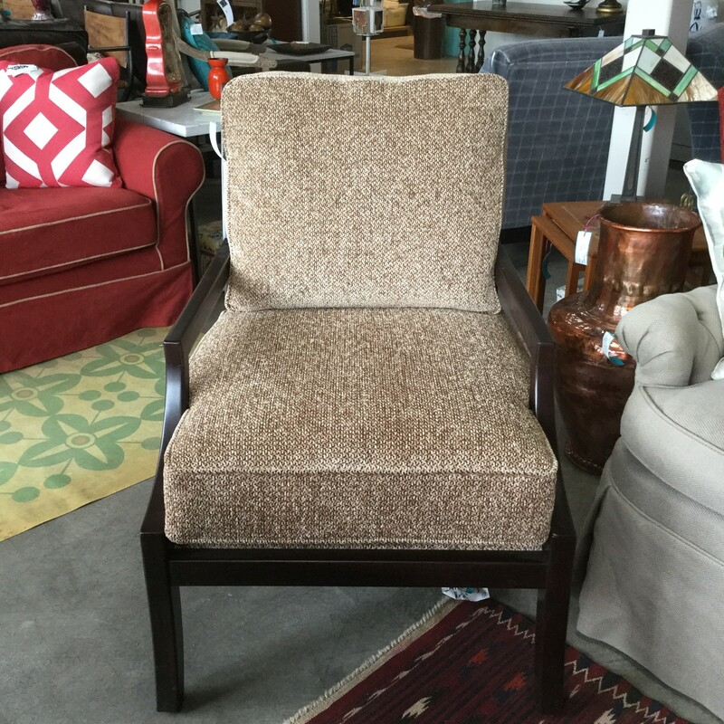 Miles Talbott Chairs, Brown Tweed, Wood Frame, 2 Available