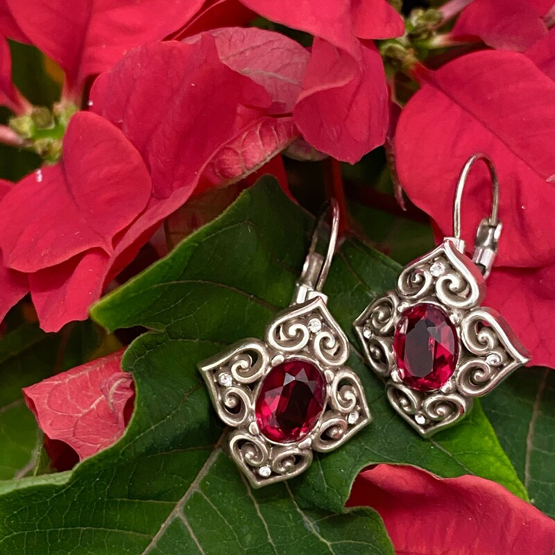 Brighton Signature Earrings<br /> Retails $42.00<br /> Silvertone & Red Crystal<br /> Leverback
