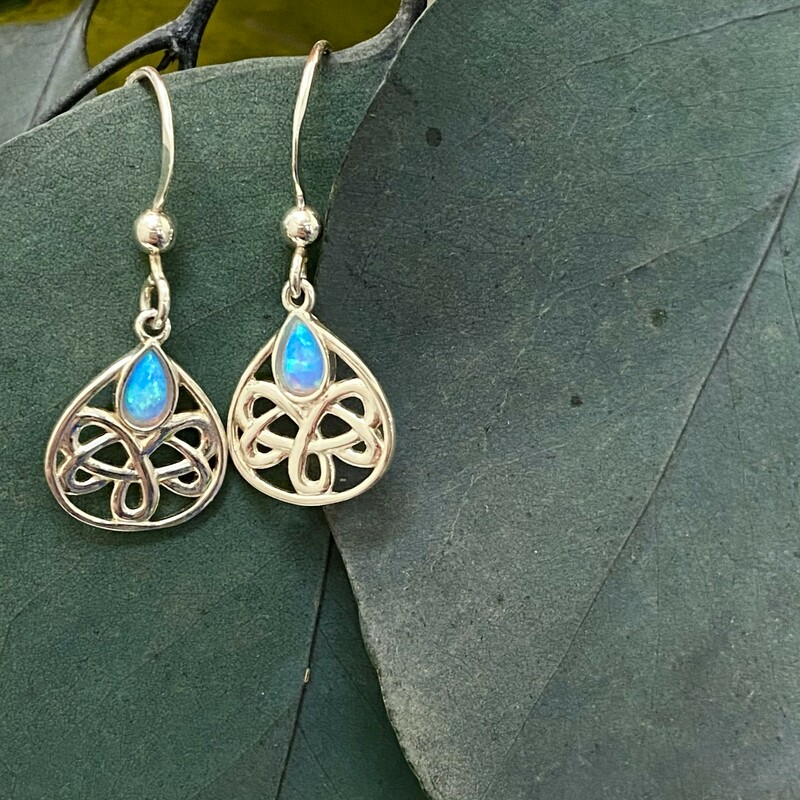 .925 Opal Celtic Knot Earrings<br /> Dangle Style