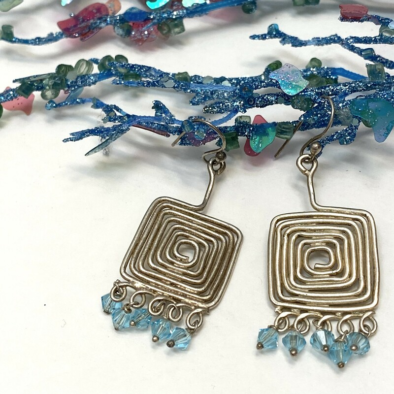 .925 Artisan Earrings<br />  Silver Wire Square<br /> Aqua Crystal Beads