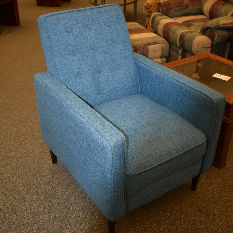 Blue Pushback Recliner