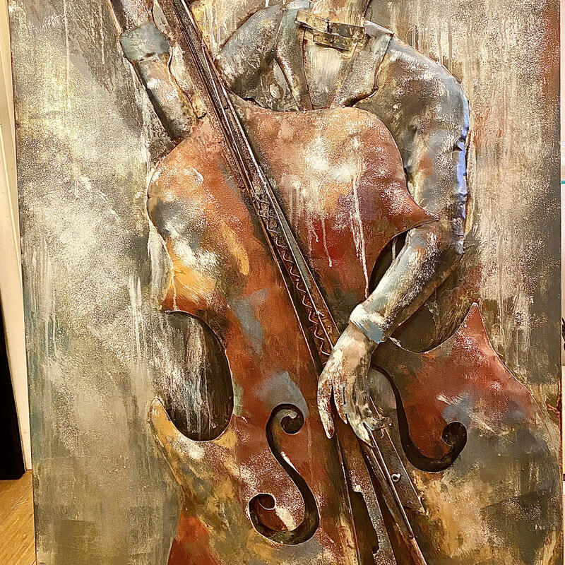 2 Dimensional Metal on Metal Wall Art Base Player,<br /> Size: 32x48