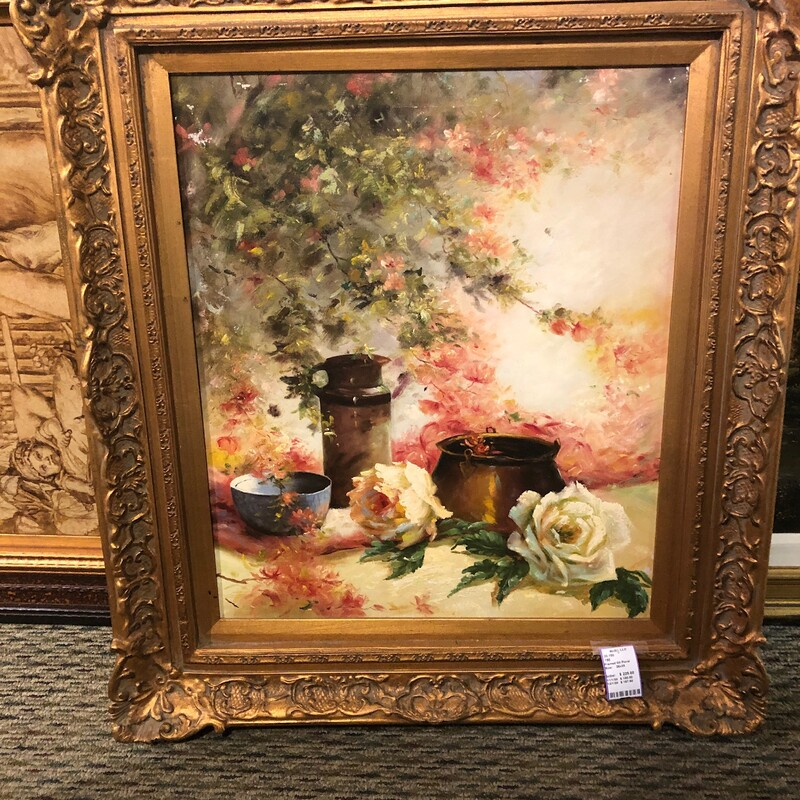 Botanical Oil Painting, Used, Size: 28w  33t