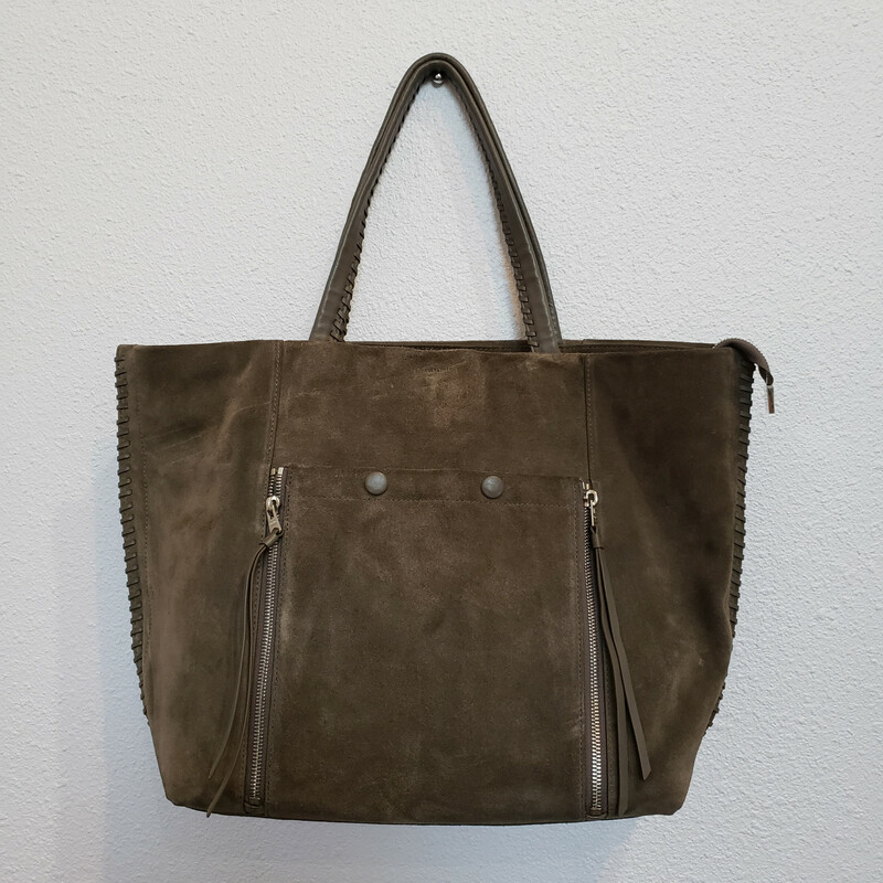 All Saints<br /> Olive Suede Tote<br /> Comes with Dustbag