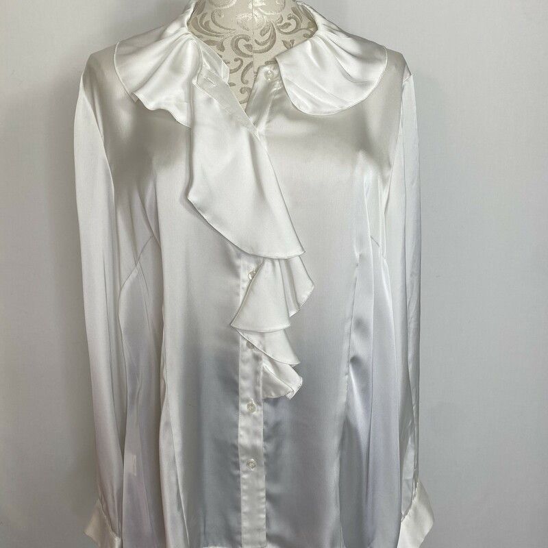 100-0023 Insight, White, Size: 16 shiny ruffle blouse polyester  Good  Condition