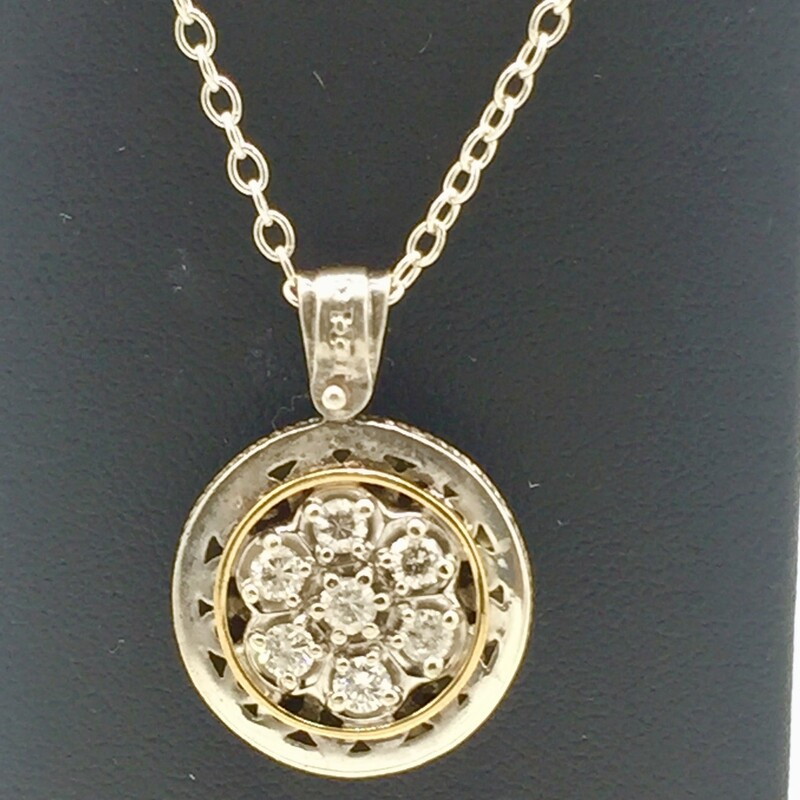 "STERLING SILVER & 14KT GOLD<br /> 18"" CHAIN<br /> APX. 1/2CTTW DIAMONDS<br /> <br /> <br /> <br /> <br /> 14kt/SS 1/2tw Rb Pendant, YELLOW, Size: KMH"