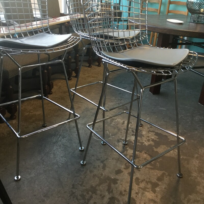 Knoll Bertoia Bar Stools, Black Leather, Counter Height