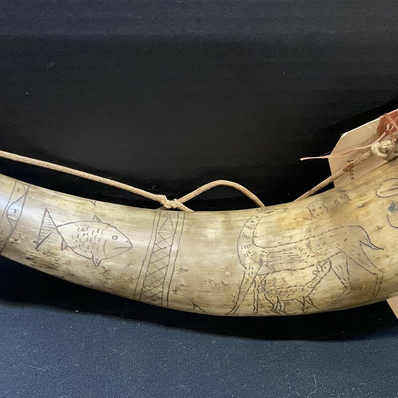 Unique engraved horn from Allentown; Pennsylvania; signed 'Reuben 1859' and carved  with scrimshaw-style markings.