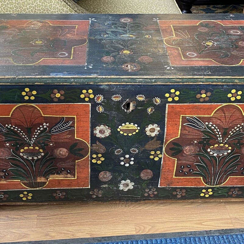 Antique Painted Trunk.