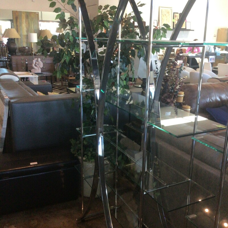 Silver/Glass Etegere, Silver, Bookcase<br /> 48' wide x 17' deep x 73' tall