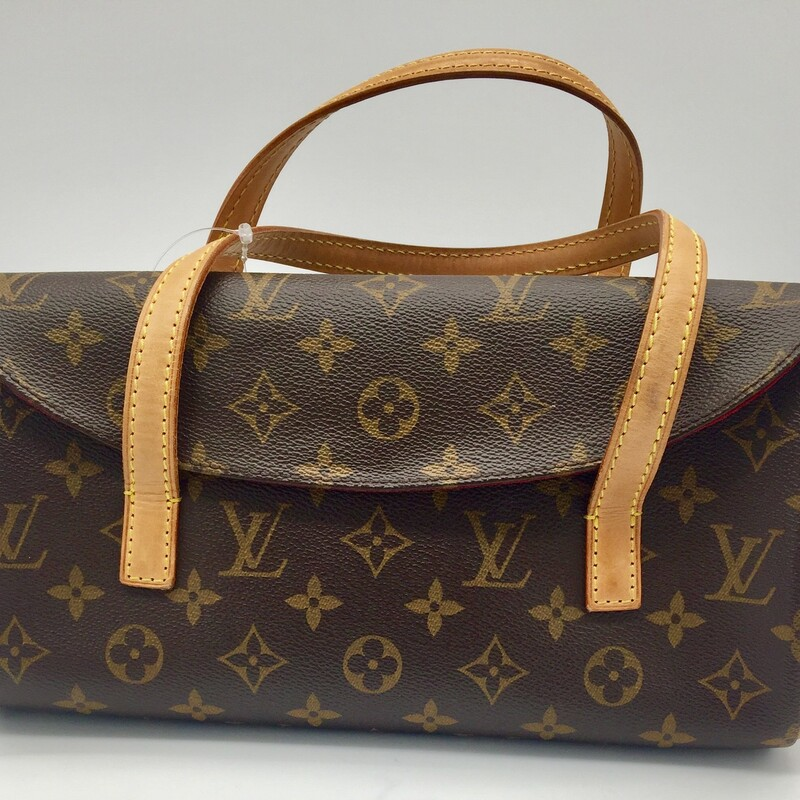 "LOUIS VUITTON<br /> SONATINE MONOGRAM HANDBAG<br /> SIZE AND FIT<br /> 11""W x 5""H x 2""D<br /> 4"" handle dro<br /> <br /> <br /> <br /> <br /> LV Sonatine Monogram, Brown, Size: IHH"