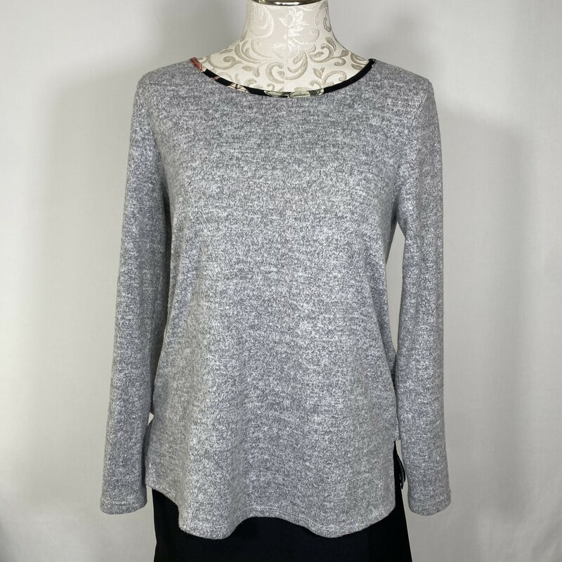 Gilli Zipper Back Sweater, Grey, Size: Small floral underlayer 86% polyester 12% rayon 2% spandex