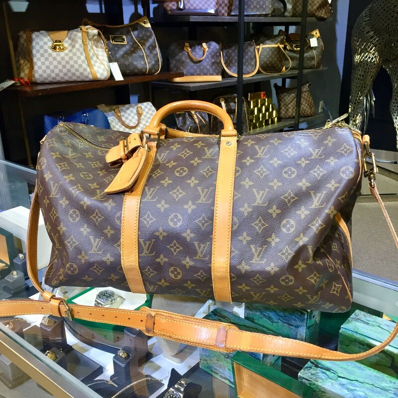 "Series: Keepall 50<br /> Retail: $1,600<br /> Style: Travel Bag<br /> Material: Monogram Canvas<br /> Color: Brown<br /> Made: France<br /> Made year: 1996<br /> Date/Authenticity Code: SP0966<br /> Measurements: 21.6"" L x 9.4\"" W x 12.2\"" H<br /> <br /> <br /> <br /> <br /> LV Keepall 50 Monogram, BROWN, Size: THH"