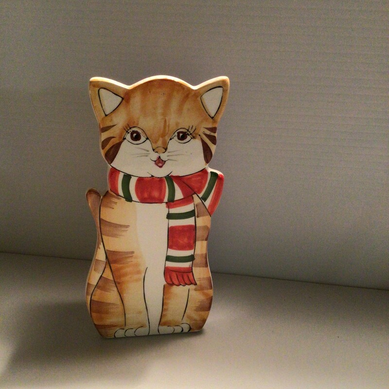 Kitty Match Stick Holder, Vintage, Size: 8""
