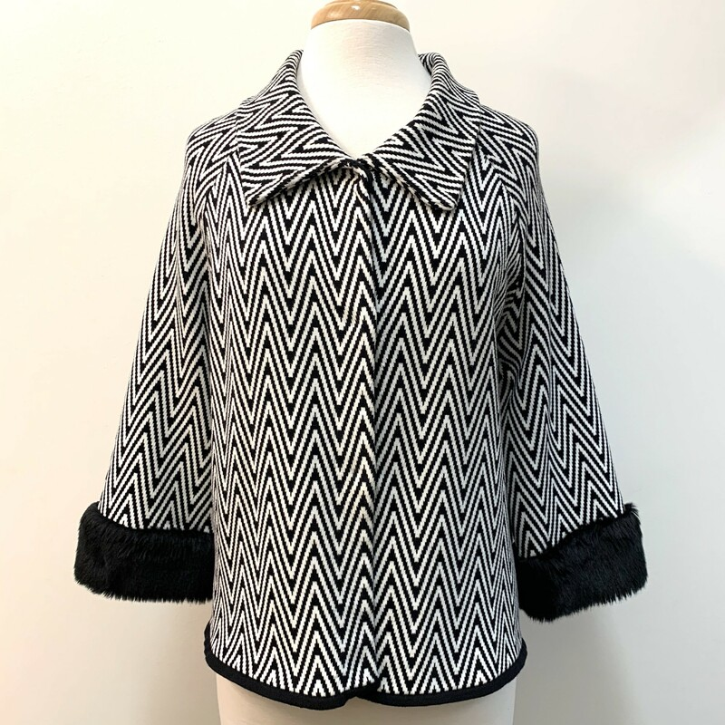 Chico's Knit Jacket<br /> Faux Fur Trim<br /> Black and White<br /> Size: Medium