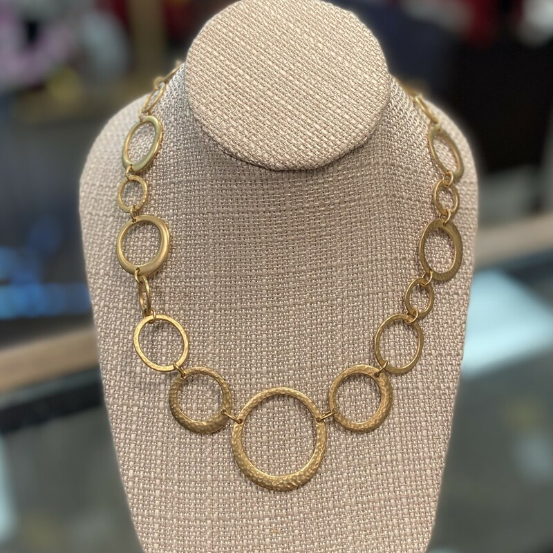 Brush Gold Link Necklace.