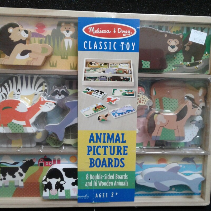 Animal Picture Boards, Wood, Puzzle<br /> Ages 2+<br /> 8 double sided boards<br /> 16 wooden animals