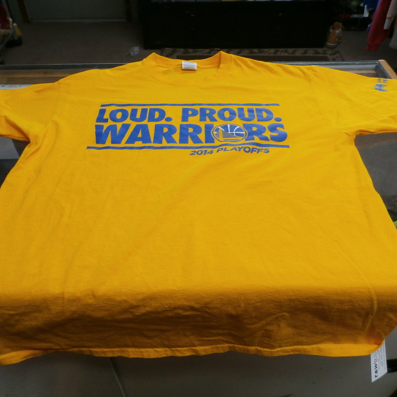 "Golden State Warriors ""Loud Proud"" Shirt Yellow Jerzees size XL 100 cotton #25309<br /> Rating: (see below) 3- Good Condition<br /> Team: Golden State Warriors<br /> Event: Playoffs<br /> Brand: Jerzees<br /> Size: Men's- XL (Measured: Across chest 22"", length 29"")<br /> Measured: Armpit to armpit; shoulder to hem<br /> Color: Yellow<br /> Style: short sleeve; screen pressed<br /> Material: 100% Cotton<br /> Condition: -3 Good Condition - wrinkled, minor pilling and fuzz; slight fading; stretched out from use; feels a little course; discolored slightly; bottom is curled up<br /> Item #: 25309<br /> Shipping: FREE"