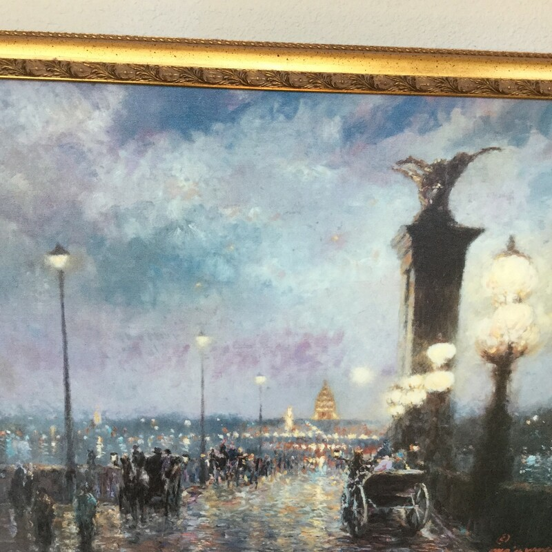 "Paris Art, Gold Frame, Size: 29""X23"""