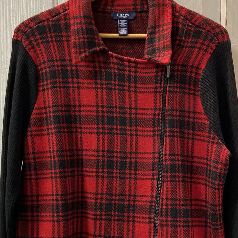 Blk/red Plaid Zip Sweater.