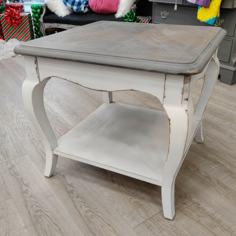 Gray/White Side Table<br /> <br /> White base with stained gray top