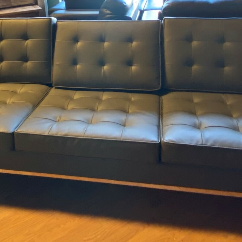 "Modern 3 Seat Chrome Base, Gray, Pleather<br /> Size:  90.5"" x 31"" x 22.5""   (l/d/h)"