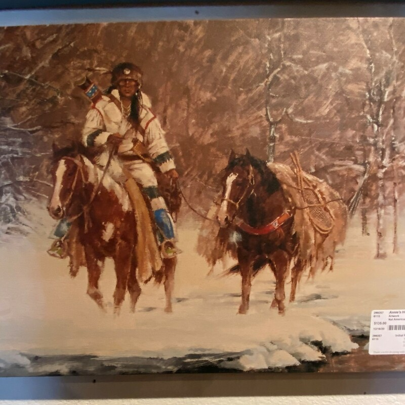 "Nat American W/horse Snow, Print, Canvas<br /> Size:  24"" x 16""  (w/h)"