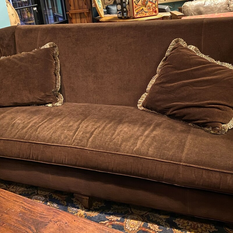"Single Cushion Velvet, Brown, Sanford Co<br /> Size:  86"" x 43"" x 37""  (l/h/d)"