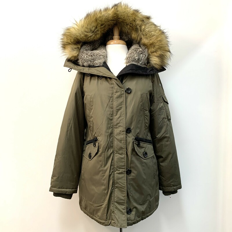Vince Camuto Parka<br /> Moss Color, Faux Fur<br /> Size: Medium
