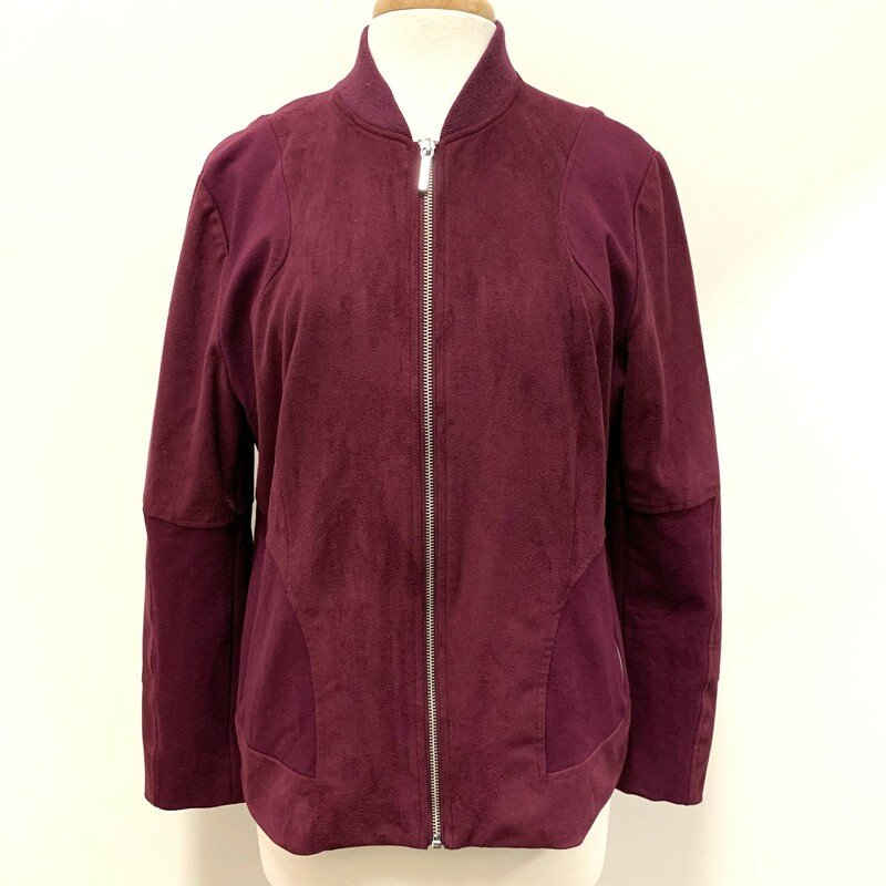 Chicos Zip Jacket<br /> Plum Microsuede<br /> Size: Large