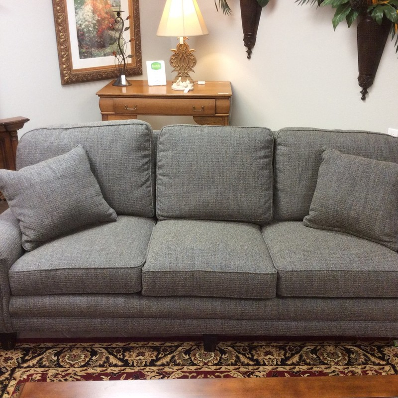 This is a gorgeous 2-piece set! The sofa and loveseat have been custom made by Calico Corners. The set is both classic and contemporary. Upholstered in a soothing gray wool sprinkled with  blue and black, it is refined and it's comfortable.  Plus, it's in exceptional condition, it's like new!