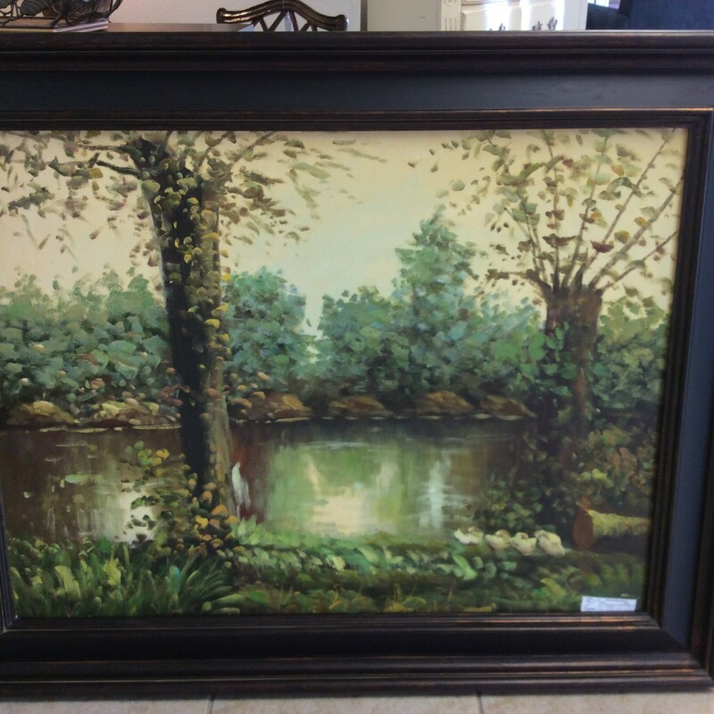 "This UTTERMOST painting is actually called ""Resting by the Lake."" It is an oil on canvas and features every color of green you might imagine, as well as other muted earthtones. Stop by and see this piece for yourself. Only $145!"