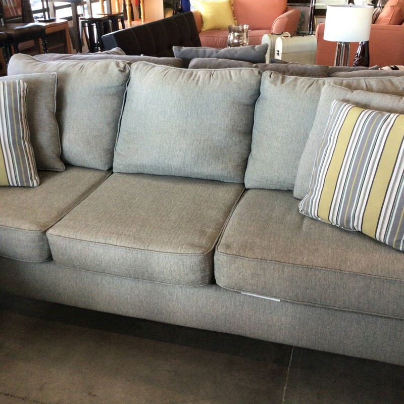 "Gray Sofa, Gray, W/ Pillows<br /> 89"" wide"