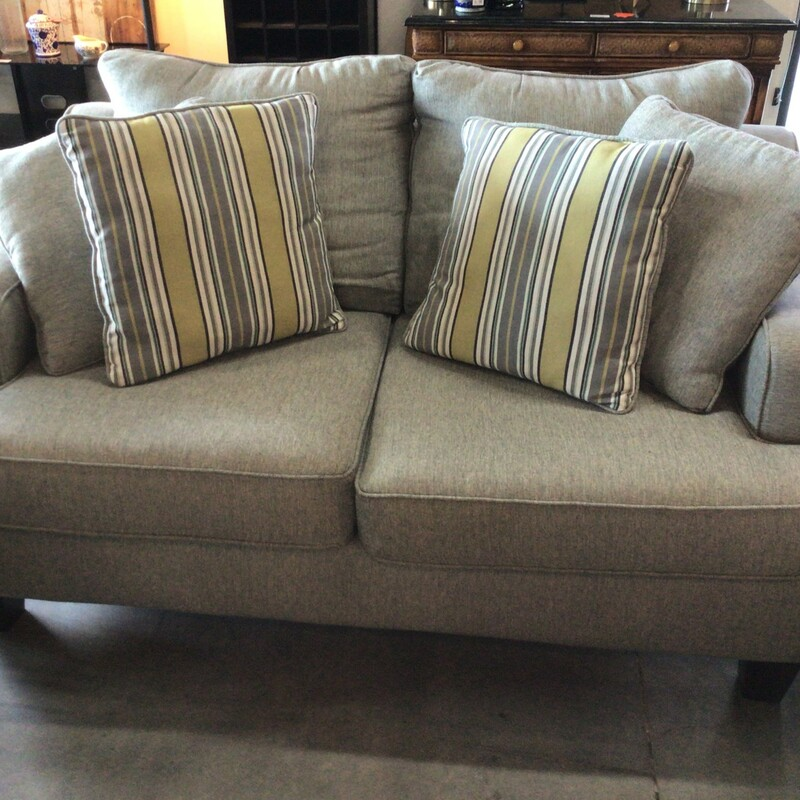 "Gray Loveseat, Gray, W/ Pillows<br /> 63"" wide"