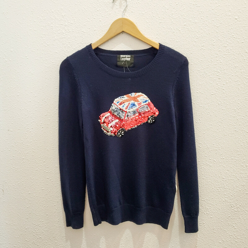 Markus Lupfer, Navy, Size: Small<br /> 100% Wool<br /> Sequin Mini Cooper