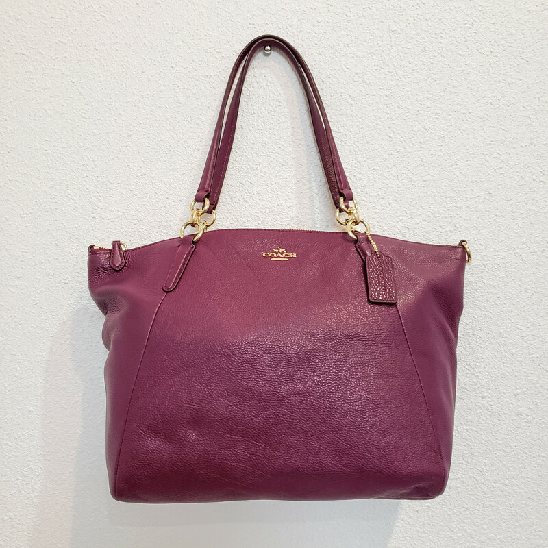 Coach<br /> NWT<br /> Kelsey Satchel in Plum<br /> Original Retail $395<br /> Long Strap Included