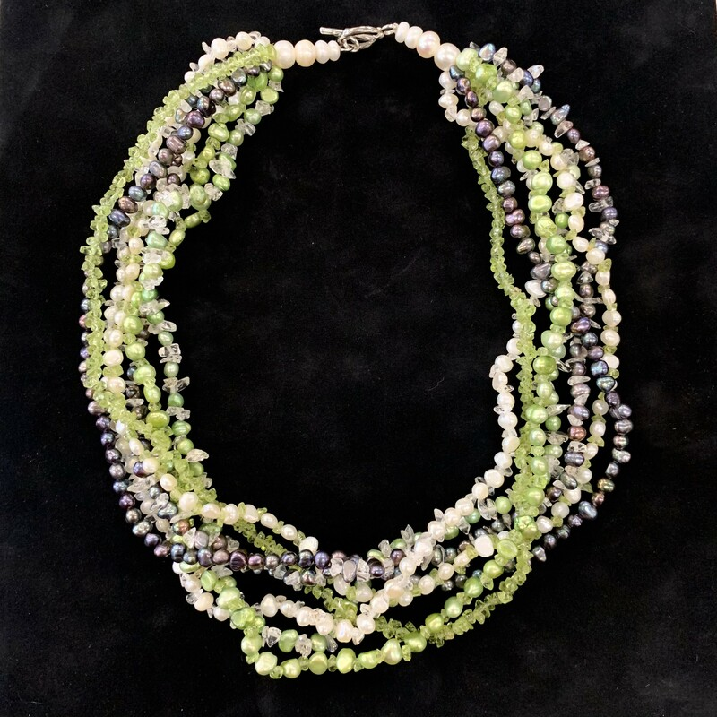 "Multi Strand Freshwater Pearl Peridot Crystal Gemstone Necklace Sterling Clasp 18""L"