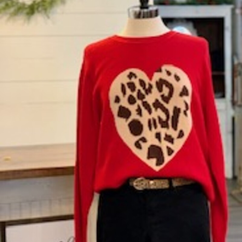 Super soft long sleeve sweater with leopard heart.<br /> <br /> Size Small