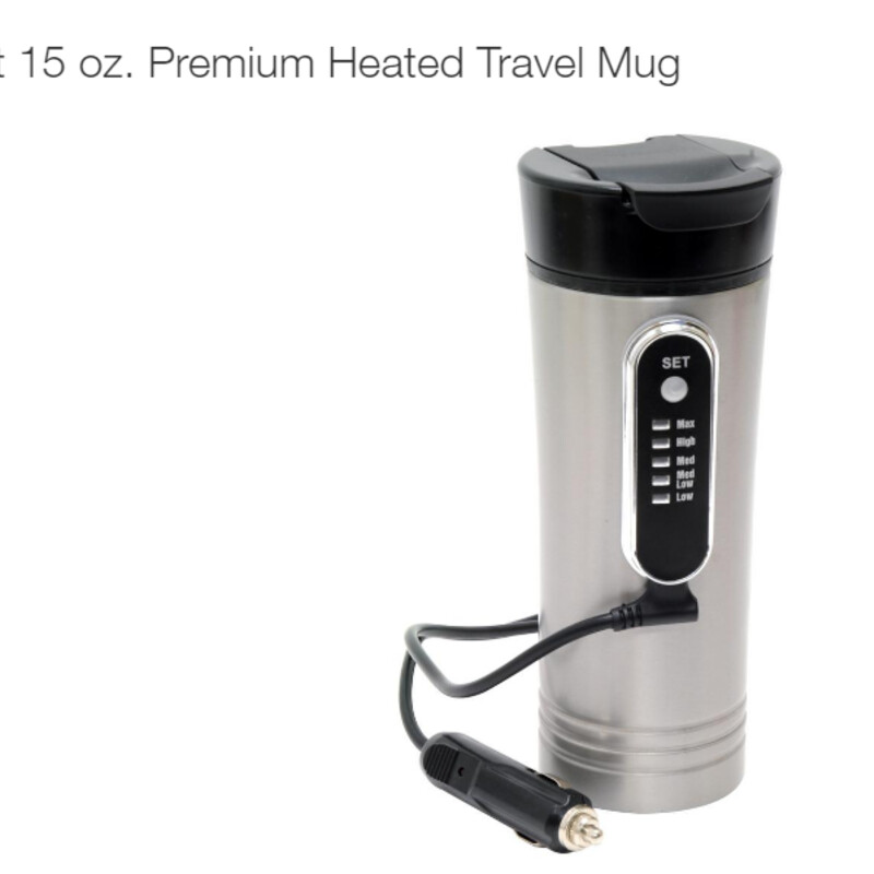 Heated Travel Mug<br /> Everything You Need for Your On-The-Go Lifestyle Whether in your truck, car, camper or boat. Whether it's your work or your weekends that take you out on the road. Whether you're alone, with your crew, co-workers or your family. Look to RoadPro for everything you need for your on-the-go lifestyle. For over 30 years, RoadPro has been bringing hundreds of products to your mobile lifestyle. RoadPro products bring you comfort, convenience, entertainment and safety while you are traveling away from home, including devices to charge or power electronics, personal audio accessories, lighting, mobile office supplies, 12-Volt appliances, outdoor apparel, CB speakers, microphones, antennas, tools and hardware, luggage, bedding and more. RoadPro has everything you need to be your most comfortable and your most productive out on the road no matter what you do.<br /> <br /> Keep your beverages hot while-on-the-go<br /> Plugs directly into a 12-Volt power port<br /> Fits standard drink holders<br /> 5 temperature settings<br /> Non-slip bottom<br /> Non-spill lid<br /> 5 ft. fused power cord<br /> 15 oz. capacity