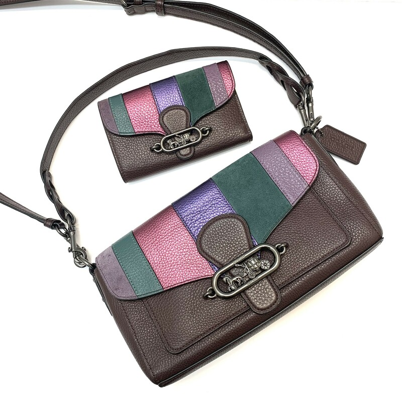 "COACH Jade Shoulder Bag<br /> Handbag & Wallet Set<br /> Refined pebble leather, metallic leather, buffalo-embossed leather and suede<br /> Magnetic snap closure, fabric lining<br /> Top handle with 9"" drop<br /> Detachable strap with 22 1/4""<br /> 10 1/4"" (L) x 5 1/2"" (H) x 2 3/4"" (W)<br /> Style No. 91095"
