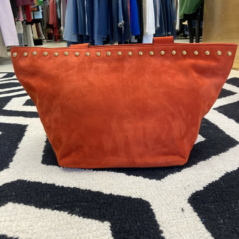 ESCADA Suede Purse: Stand out with this Escada purse. Accented with gold studs.  Warm orange color. Only signs of use around zipper as pictured.