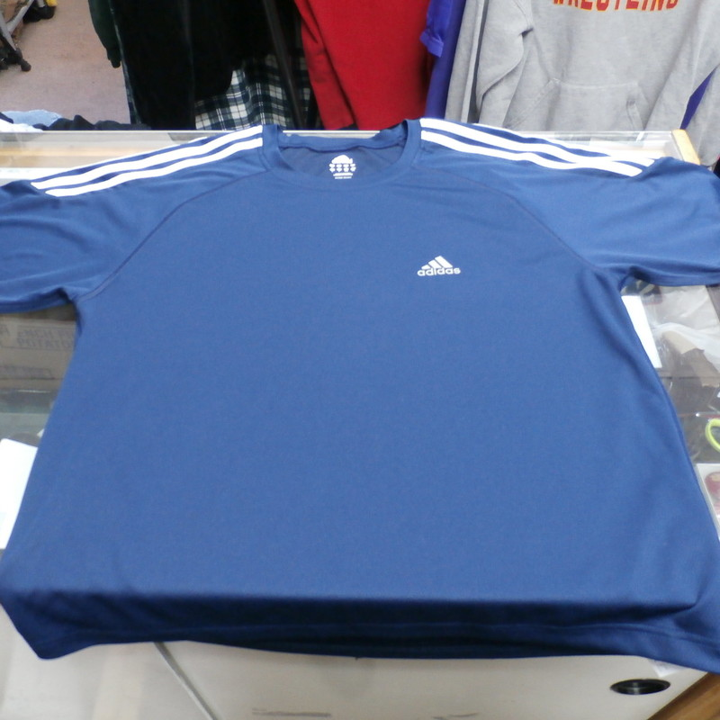 "adidas Men's Short Sleeve Shirt Size Large Blue Polyester #25522<br /> Rating: (see below) 2 - Great Condition<br /> Team: N/A<br /> Player: N/A<br /> Brand: adidas<br /> Size: Adult - Large(Measured: Across chest 22"", length 26"")<br /> Measured: Armpit to armpit; shoulder to hem<br /> Color: Blue<br /> Style: screen pressed; short sleeve shirt<br /> Material: 100% Polyester<br /> Condition: 2 - Great Condition - wrinkled; material looks and feels great; clean and crisp; some small snags; no stains rips or holes<br /> Item #:  25522<br /> Shipping: FREE"