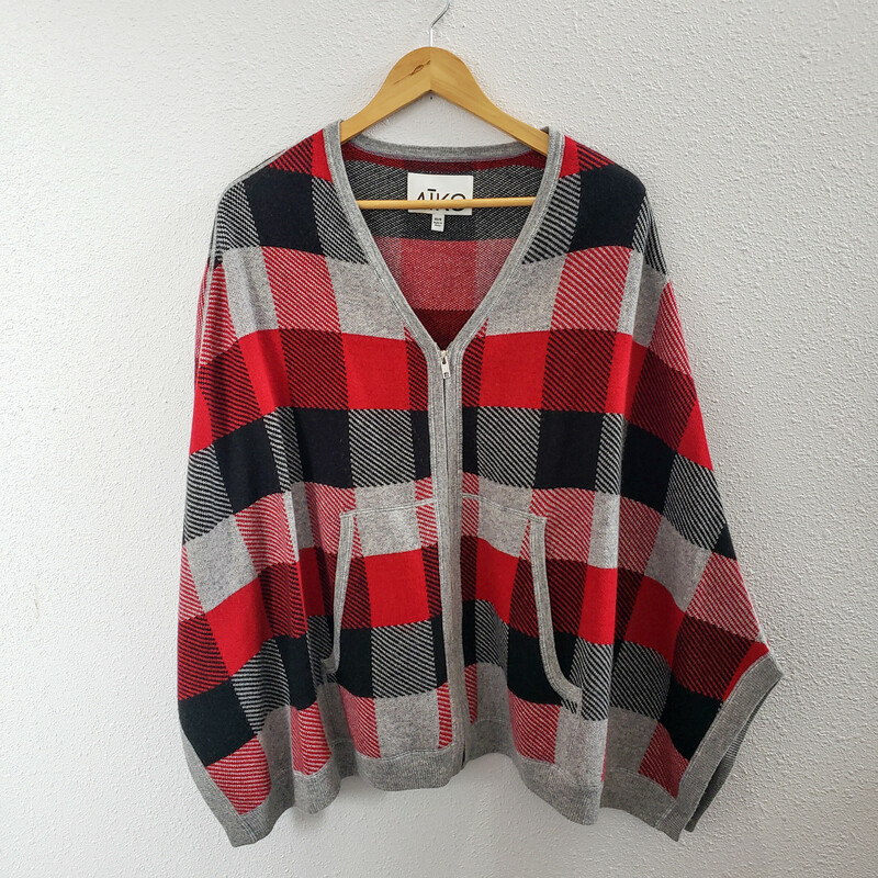 Aiko<br /> Red Gray and Black Cape<br /> Size XS/S