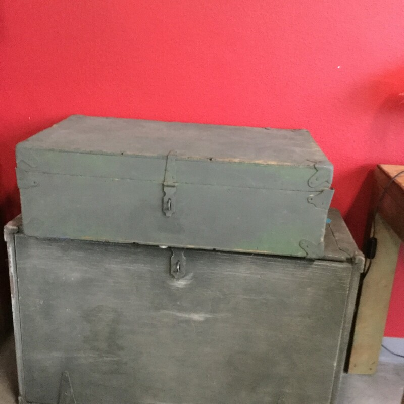 "Vintage Wood Chest, Gray, 2 Available, Size: 30""x17""x10"""