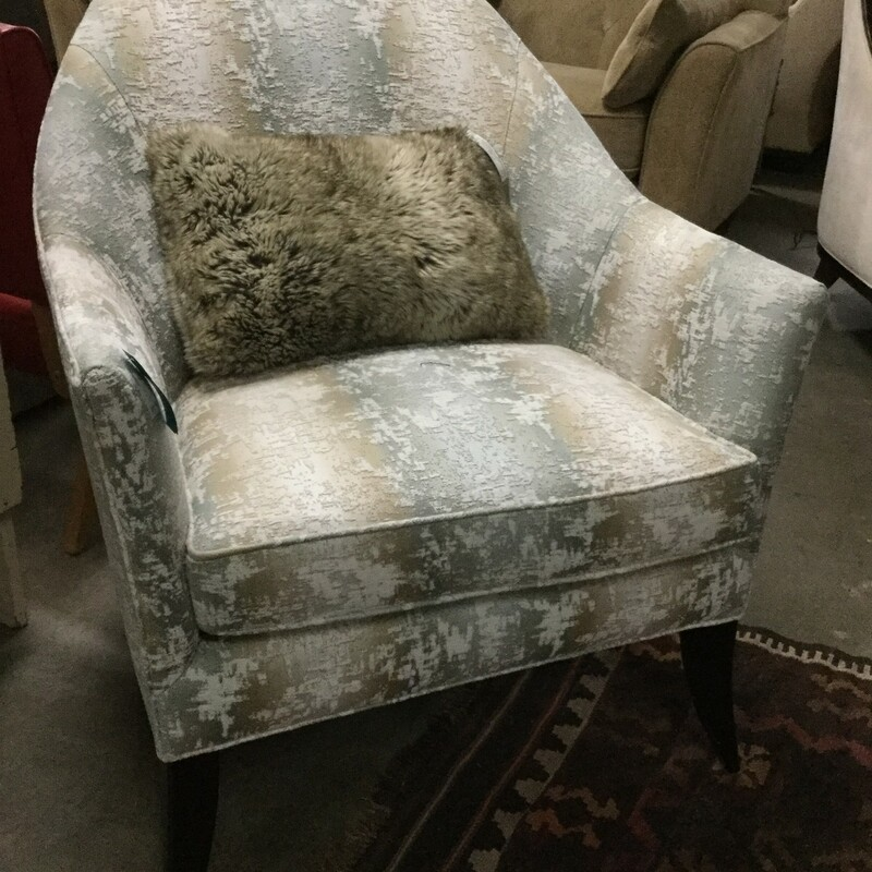 "Kravet Upholstery Round Back Chair, White/Green/Brown, Size: 36""X28""X28"""