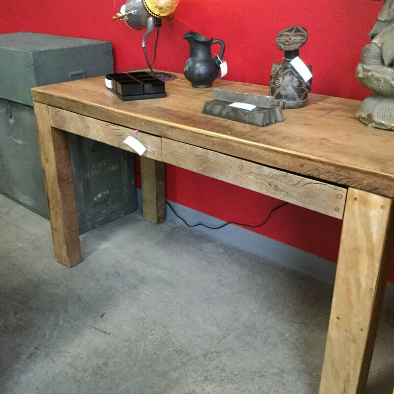 "2 Drawer Wood Desk, Rustic, Size: 54""X24""X30"""