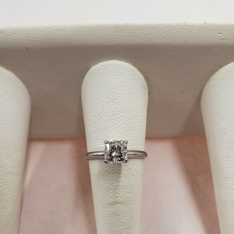 1.52 radiant cut diamond solitaire set in platinum. Ring size 8.5<br /> <br /> Can be sized up or down for an additional fee<br /> Pictures do not do the jewelry justice.<br /> Photo ID required for pick up of online purchases. We will not ship jewelry purchases.<br /> <br /> All jewelry has been checked by a Certified Gemological Institute of America (GIA) Accredited Jewelry Professional (AJP) and/or appraised by a certified local jeweler.