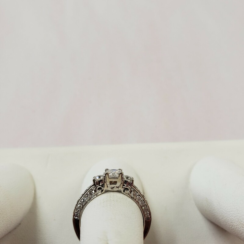 1cttw Princess cut<br /> GSL435371 laser inscribed stone<br /> 3 stone diamond ring<br /> Size 7<br /> <br /> Can be sized up or down for an additional fee<br /> Pictures do not do the jewelry justice.<br /> Photo ID required for pick up of online purchases. We will not ship jewelry purchases.<br /> <br /> <br /> All jewelry has been checked by a Certified Gemological Institute of America (GIA) Accredited Jewelry Professional (AJP) and/or appraised by a certified local jeweler.