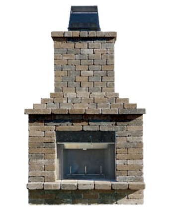 Olde english paver outdoor fireplace kit cromwell concrete for Precast concrete outdoor fireplace kits